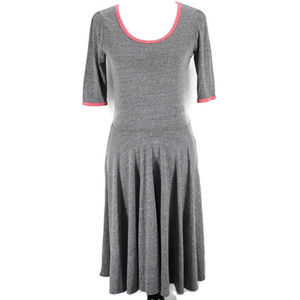 Lularoe Nicole Dress Heather Gray Red Trim Sz M